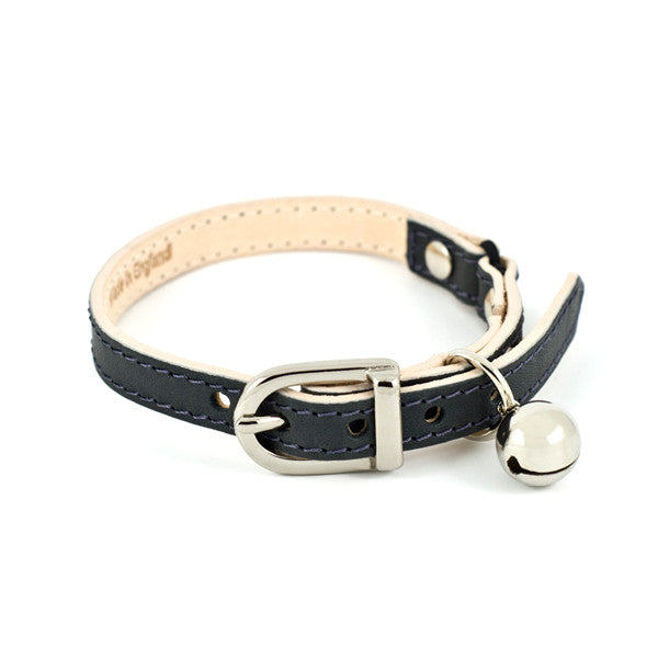 slate grey leather cat collar - linny