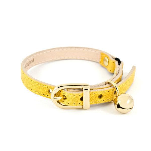 Yellow leather cat collar - linny