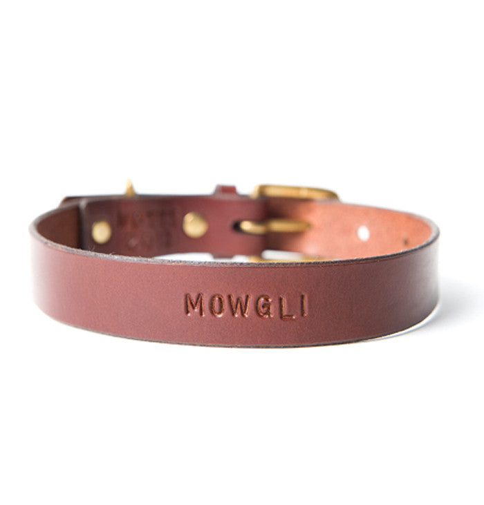 [product _vendor] Mowgli Leather Dog Collar - Black / Red - STYLETAILS