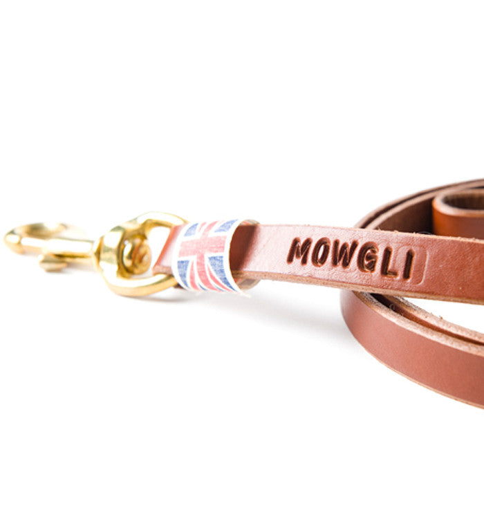 personalised luxury leather dog lead