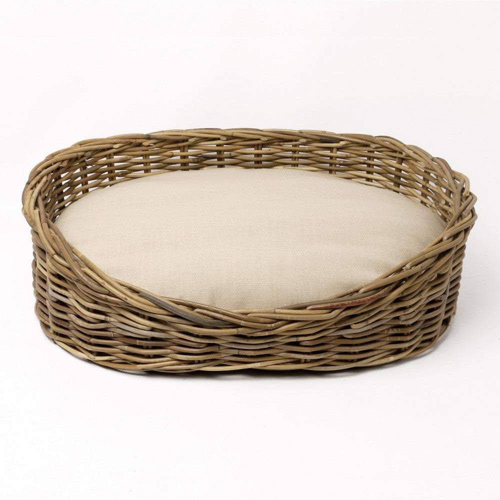 Greywash Oval Rattan Dog Basket Charley Chau