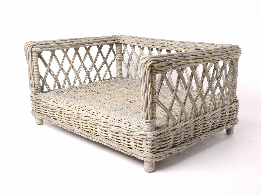 [product _vendor] Raised Rattan Dog Basket Bed - STYLETAILS