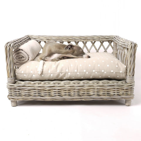 Greywash Oval Rattan Dog Basket