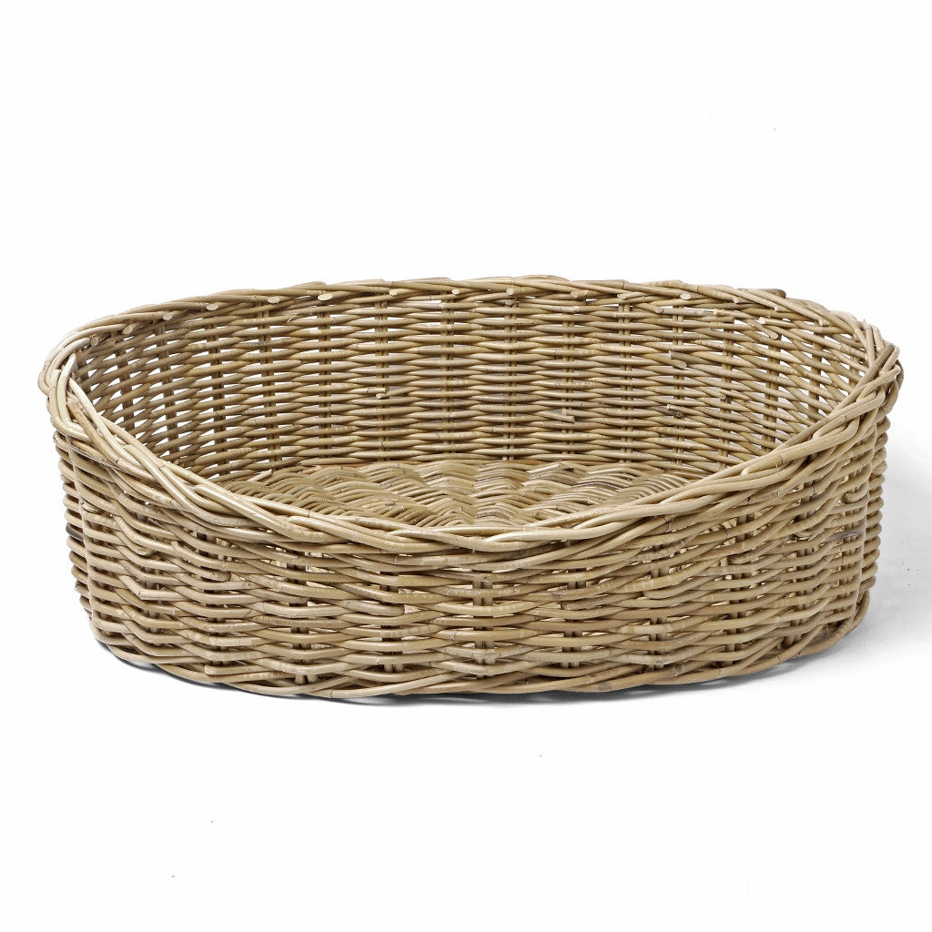 Oval rattan greywash dog basket charley chau