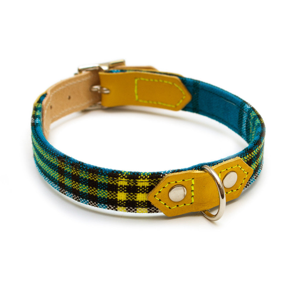 Shuka Blue Check Dog Collar