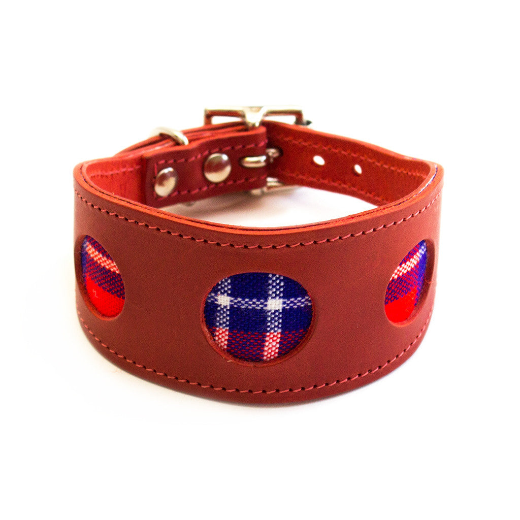 Shuka Red Check Hound Collar