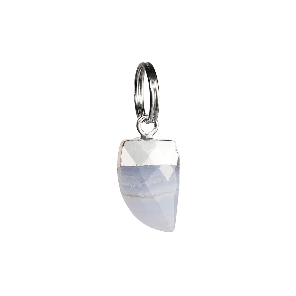 [product _vendor] Blue Lace Agate Shark's Tooth Cat Collar Charm - STYLETAILS