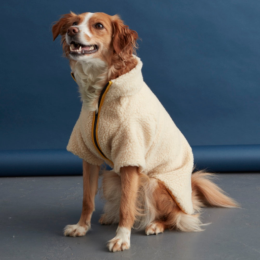 Sherpa Dog Fleece Jacket Yellow Navy Fetch Follow