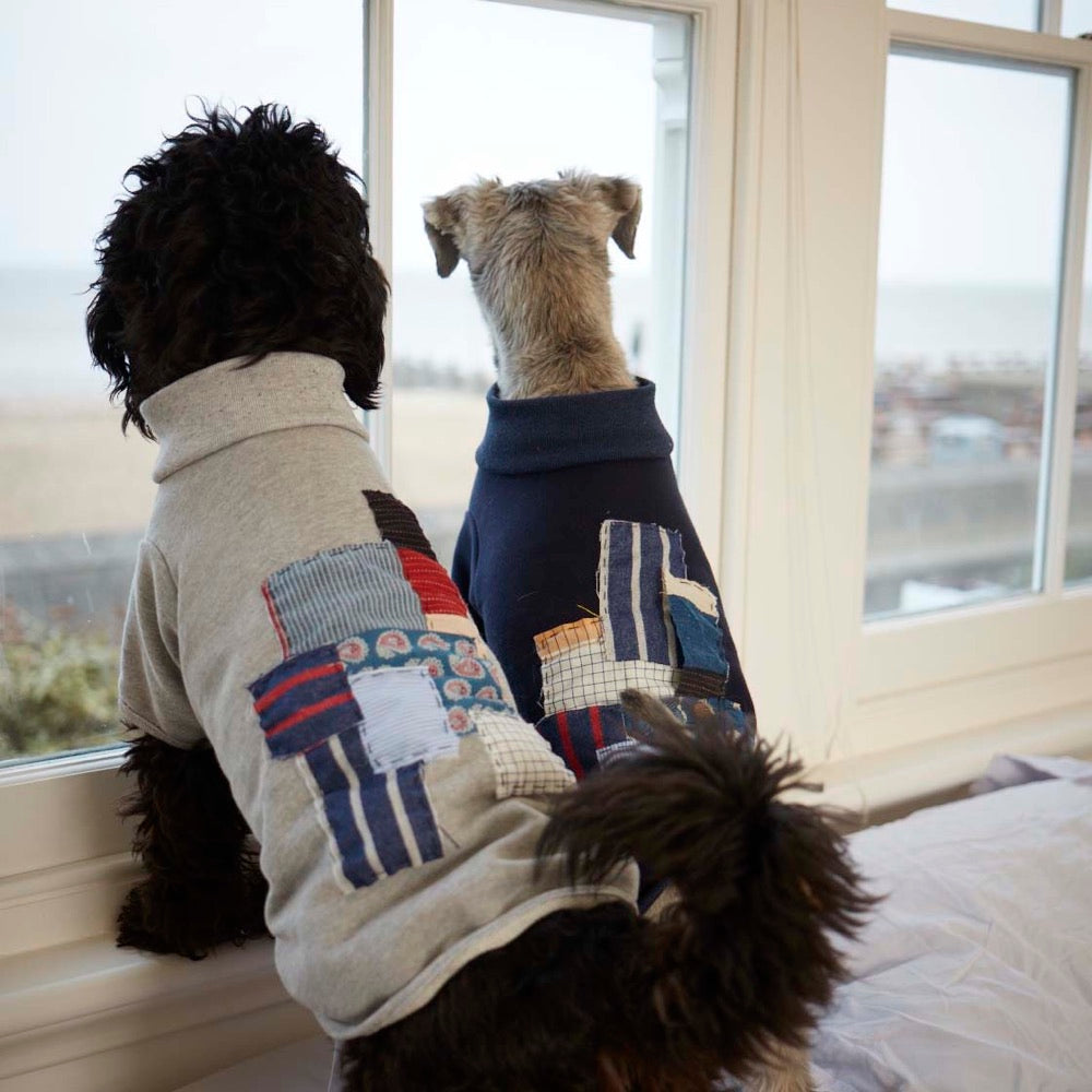 [product _vendor] Patchwork Dog Sweater - Navy - STYLETAILS
