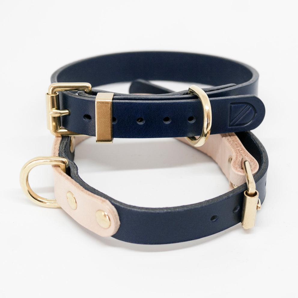 [product _vendor] Two Tone Leather Dog Collar - Natural / Navy - STYLETAILS