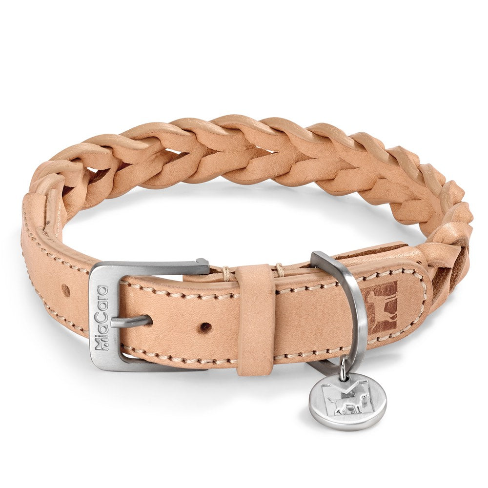 [product _vendor] Bergamo Braided Leather Dog Collar - STYLETAILS