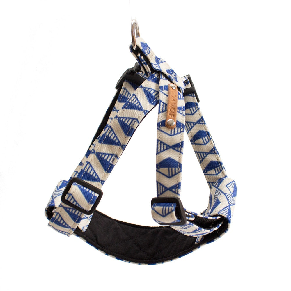 Blue Geo Dog Harness