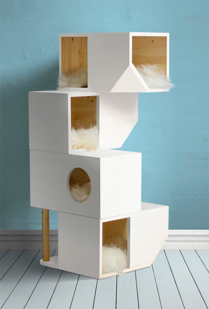[product _vendor] Freestanding Modular Cat Tower - White - STYLETAILS