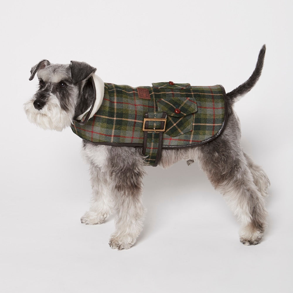 [product _vendor] Grouse Moor Dog Coat – Green with Beige / Red Check - STYLETAILS