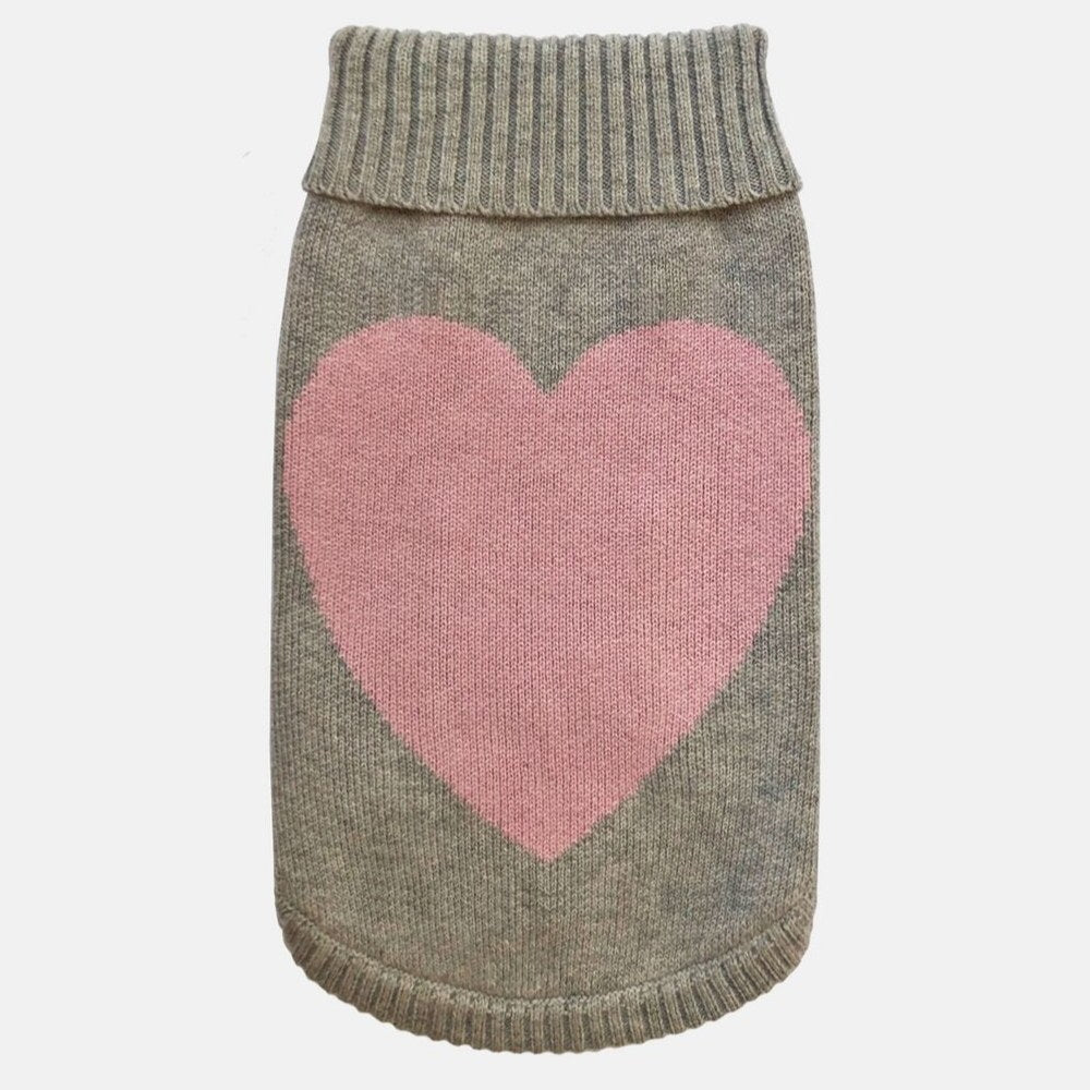 [product _vendor] Love Heart Grey Merino Wool Dog Jumper - STYLETAILS