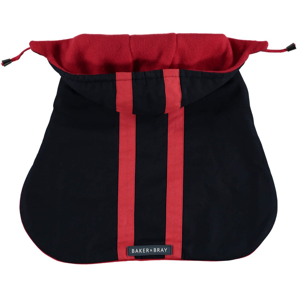 Highgate Hooded Dog Coat - Navy / Red
