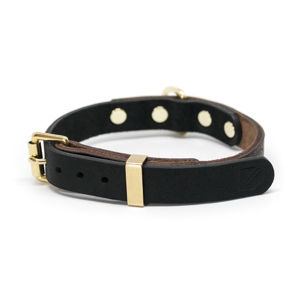 [product _vendor] Two Tone Leather Dog Collar - Brown / Black - STYLETAILS