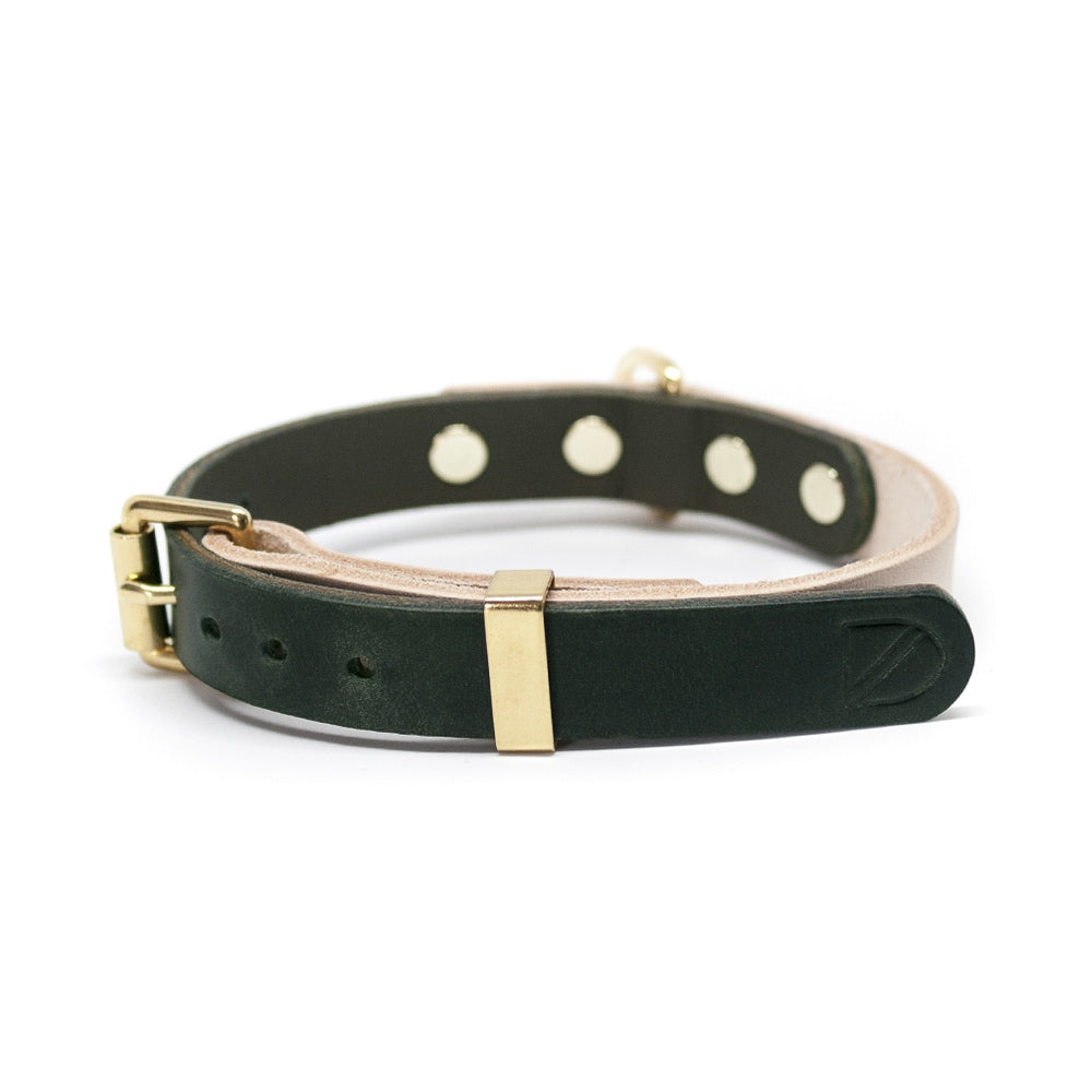 [product _vendor] Two Tone Leather Dog Collar - Natural / Green - STYLETAILS