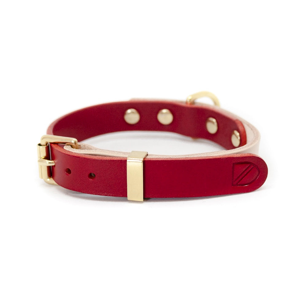 [product _vendor] Two Tone Leather Dog Collar - Natural / Red - STYLETAILS