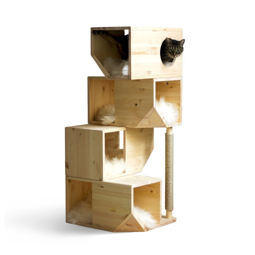 [product _vendor] Freestanding Modular Cat Tower - Natural Wood - STYLETAILS