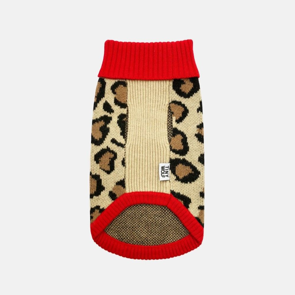 [product _vendor] Red Leopard Merino Wool Print Dog Jumper - STYLETAILS
