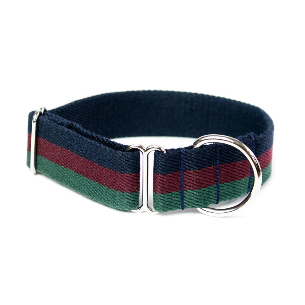 Striped Cotton Dog Collar Navy Burgundy Green Vackertass