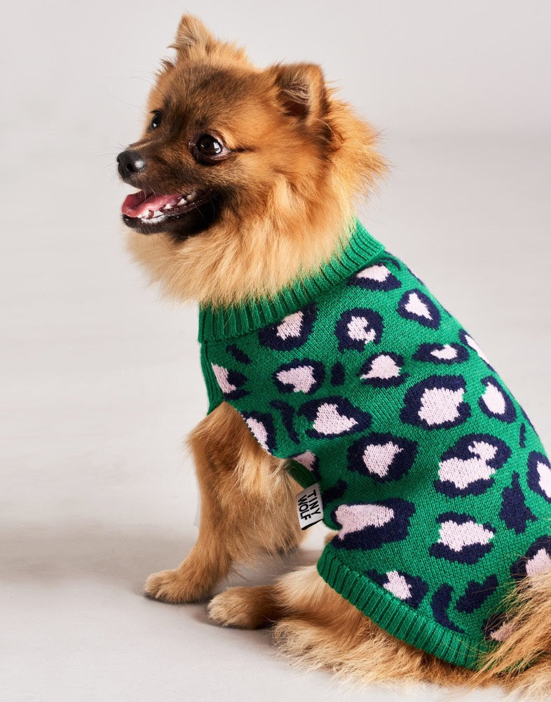 [product _vendor] Leopard Merino Wool Print Dog Jumper - STYLETAILS