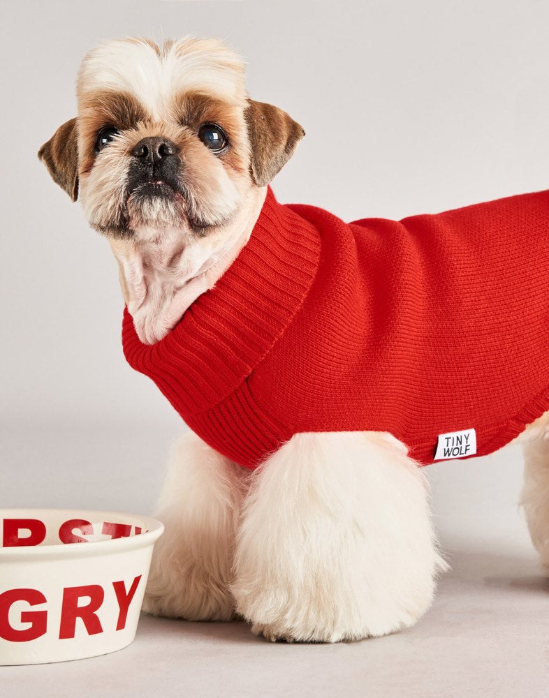 [product _vendor] Rudolf Red Merino Wool Dog Jumper - STYLETAILS