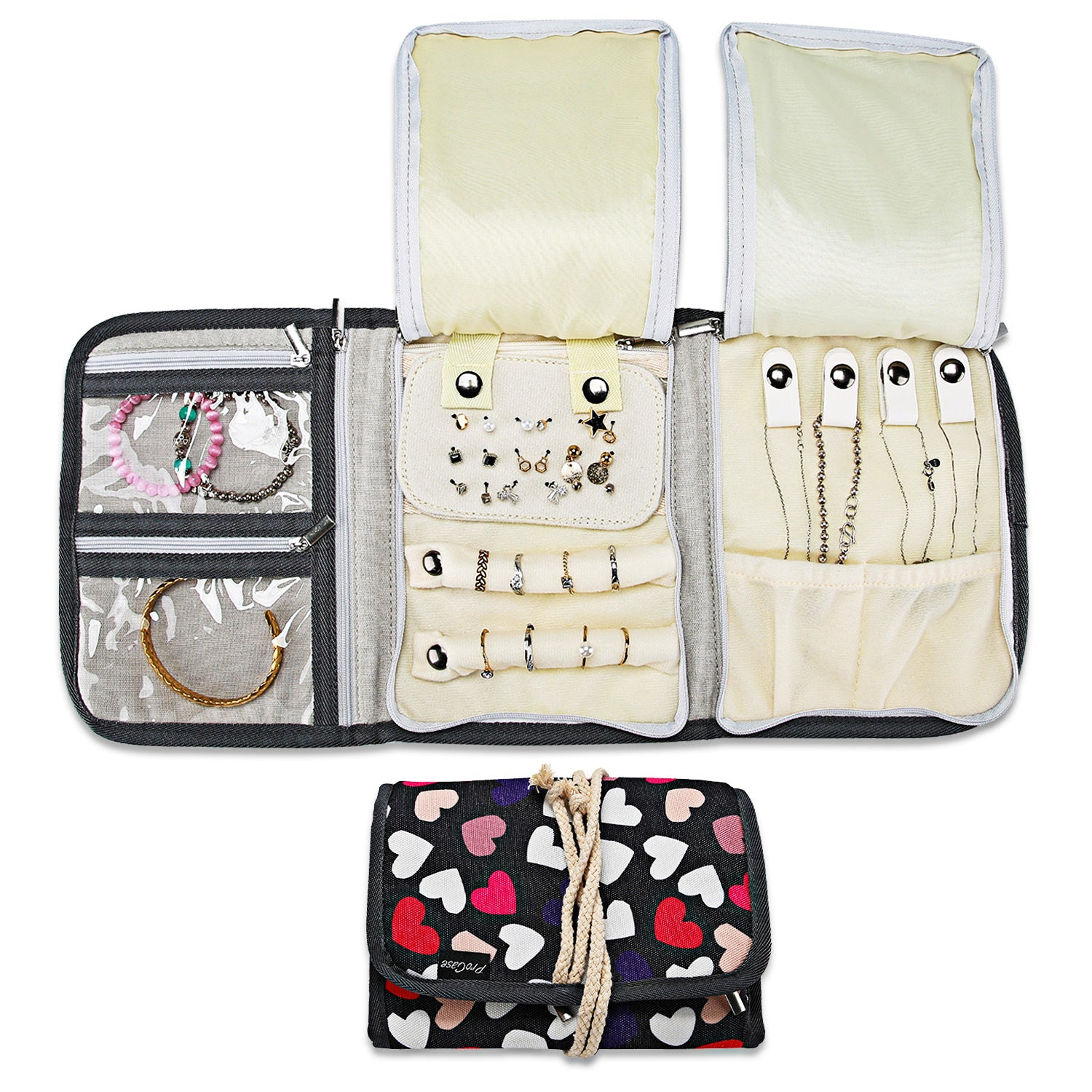 Travel Jewelry Roll Organizer