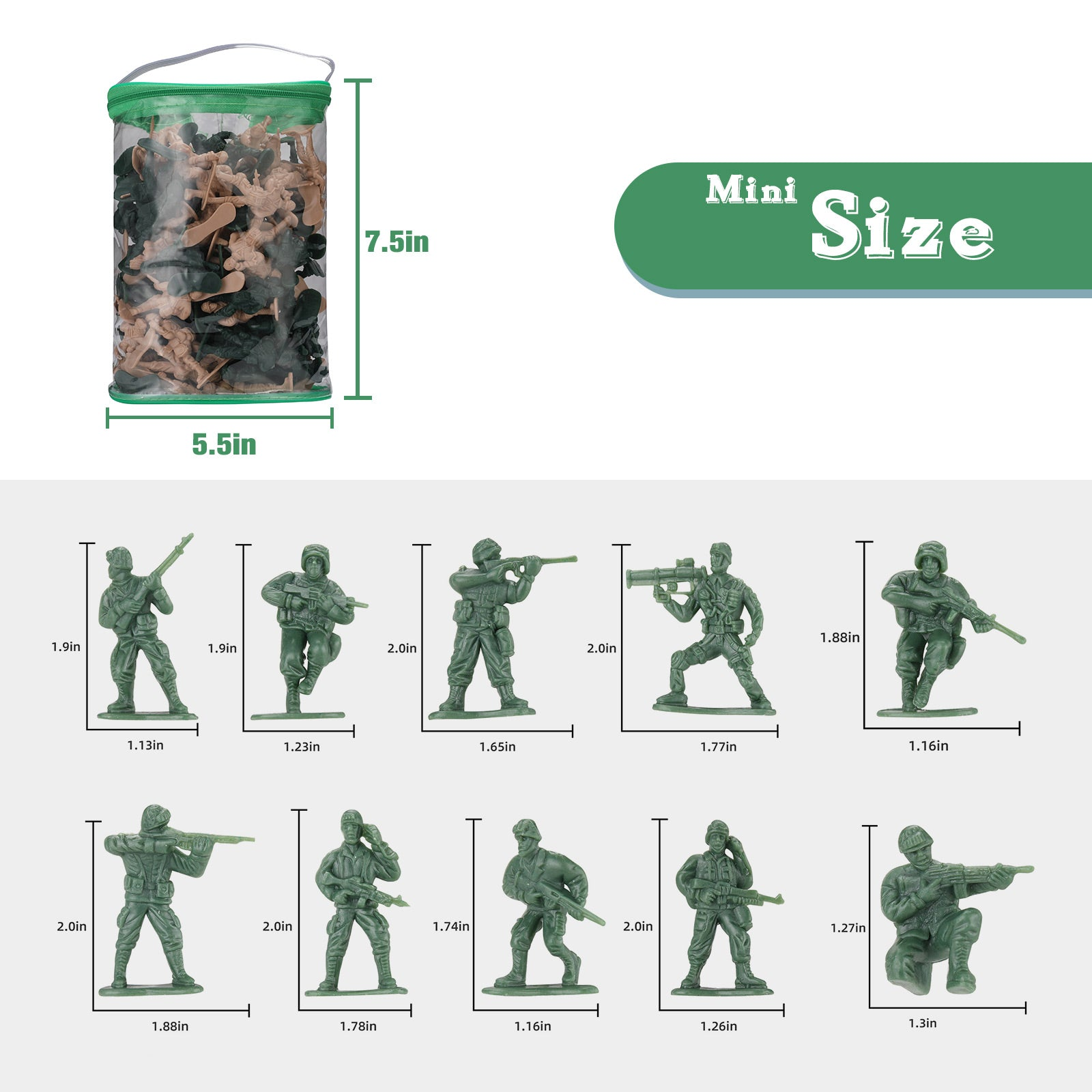 Plastic Army Men Set 100 Pcs | Hautton