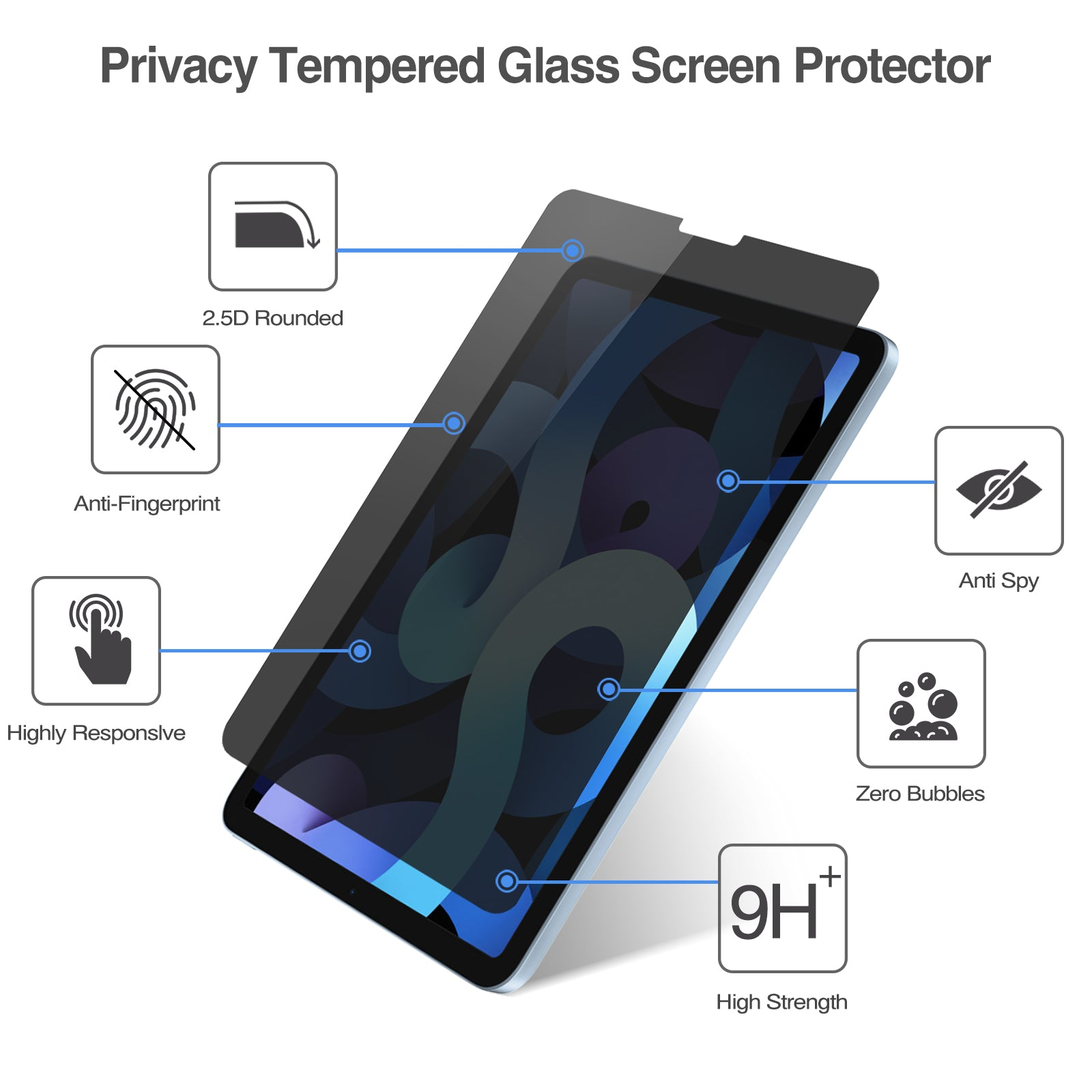 New iPad Air 10.9 4th 2020 Generation Privacy Screen Protector | ProCase