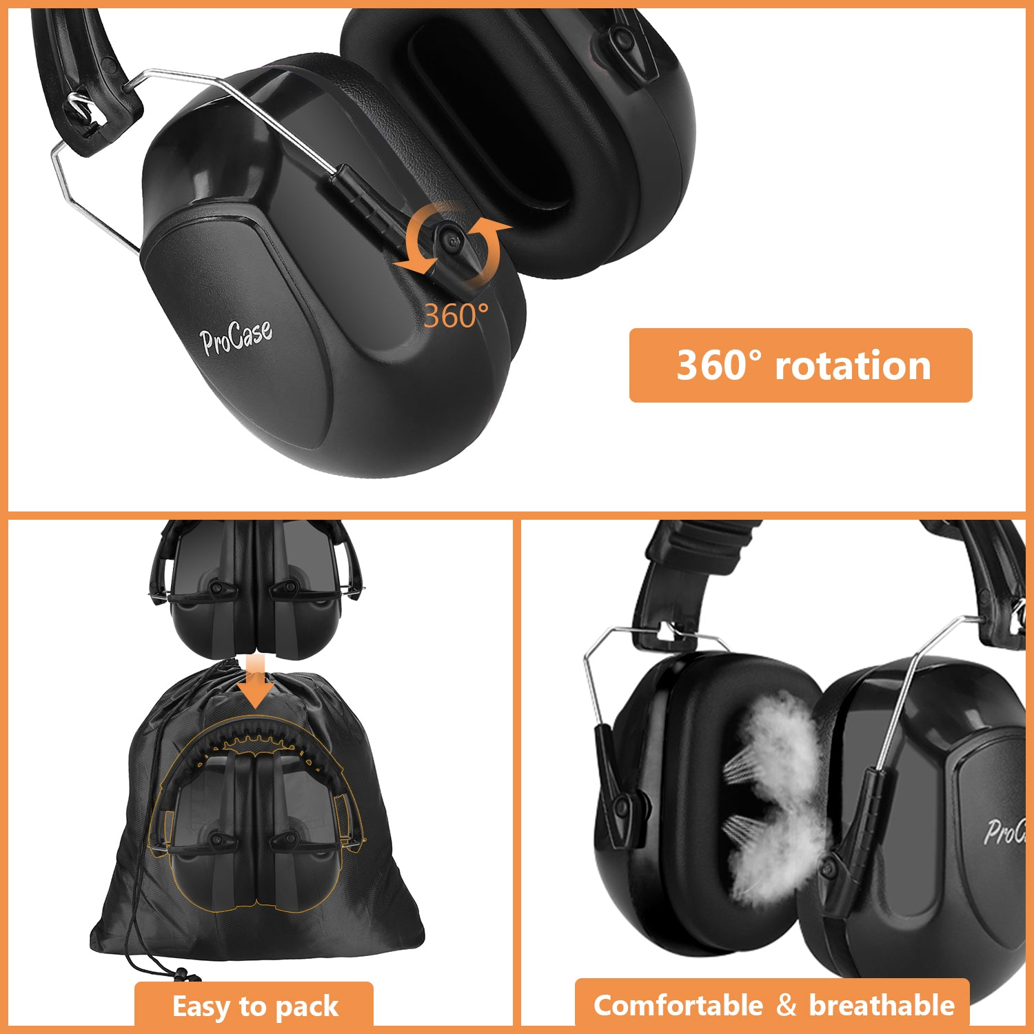 Noise Reduction Cancelling Ear Muffs Hearing Protection | ProCase