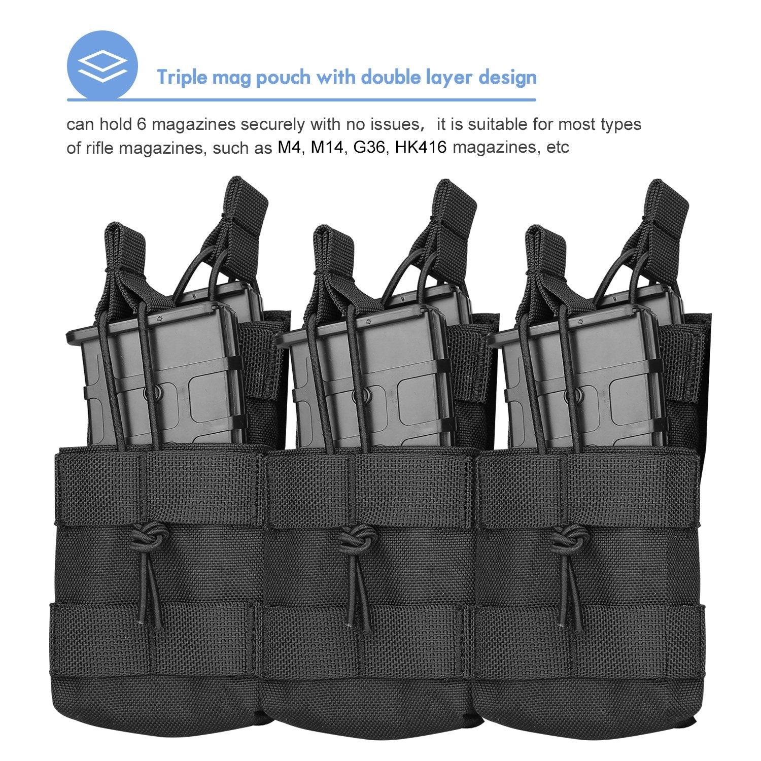 Tactical Open-Top Triple Stacker Mag Pouch | ProCase