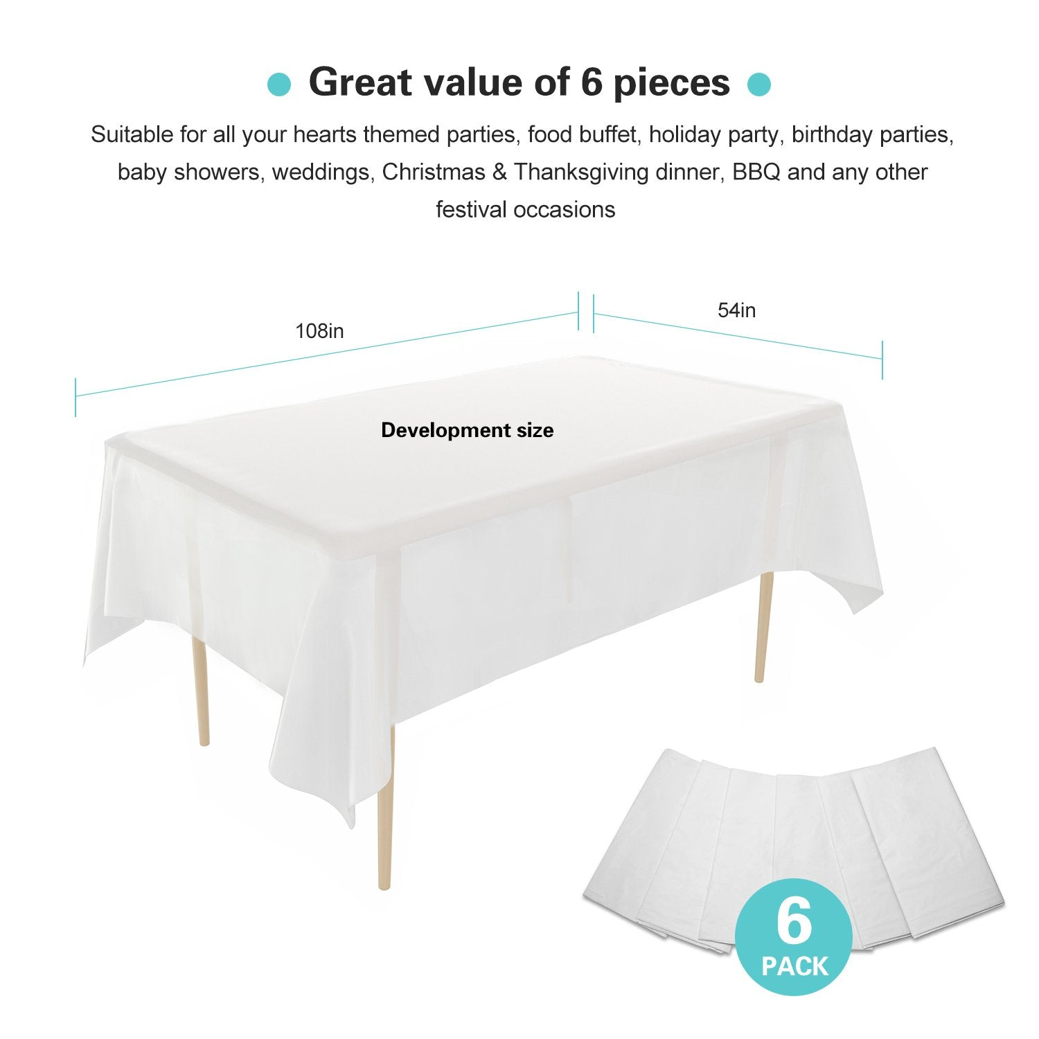 6 Pack Disposable Plastic Tablecloths 54 x 108"
