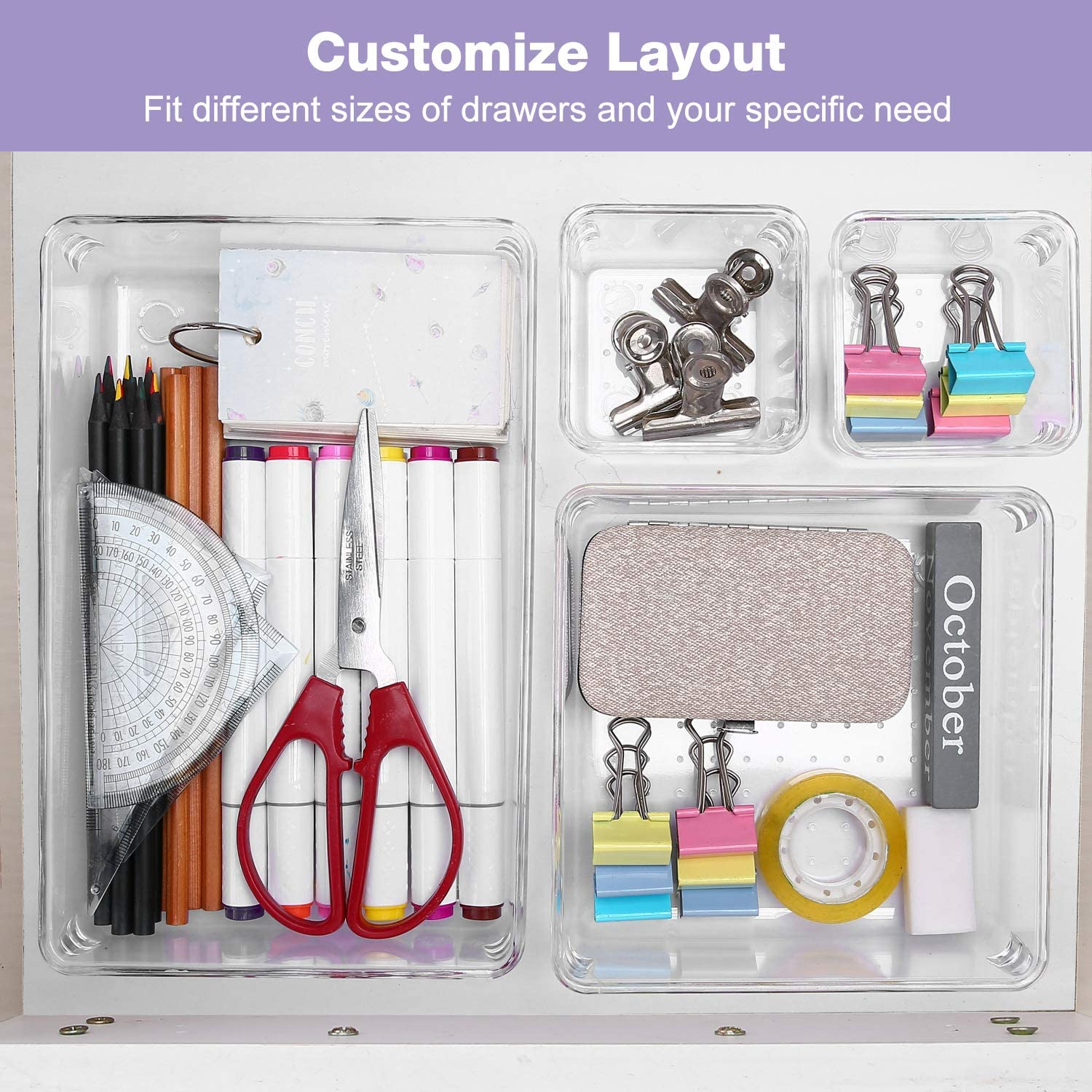 Desk Drawer Organizers Tray Set | Puricon