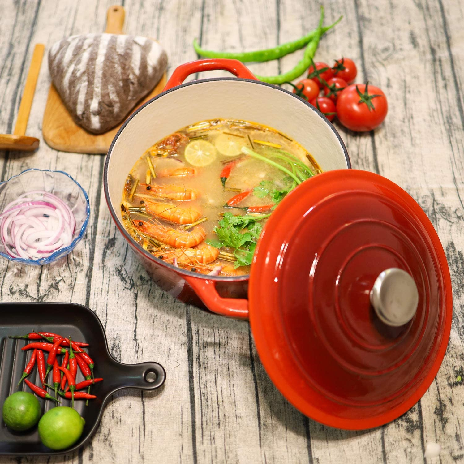 5.5 Quart Enameled Cast Iron Dutch Oven | Puricon