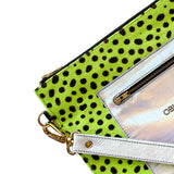 Goldie Clutch | lime pony w. silver leather