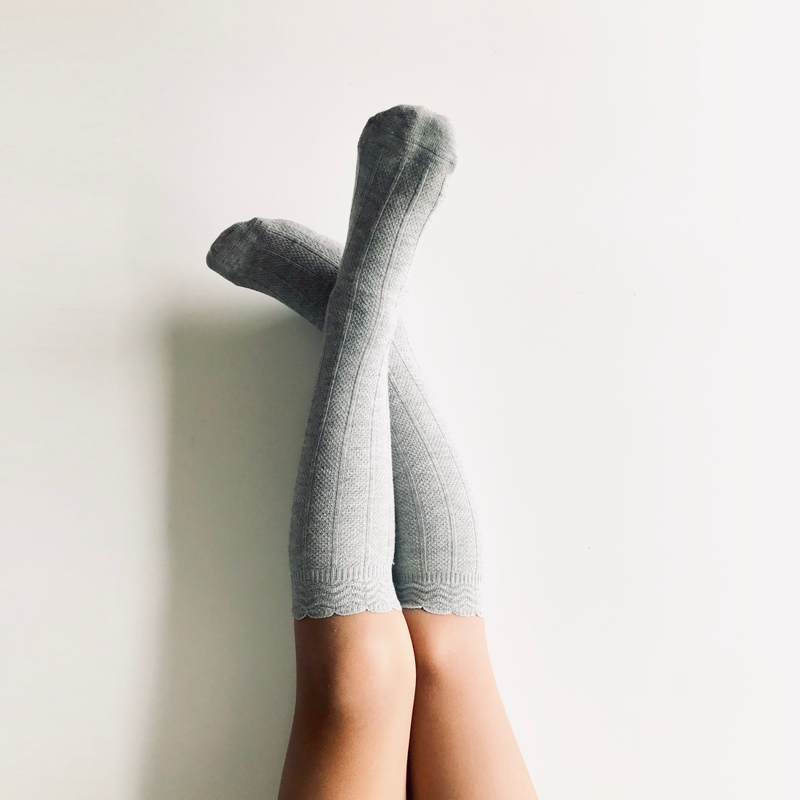 Knee-High Rib Socks | Grey