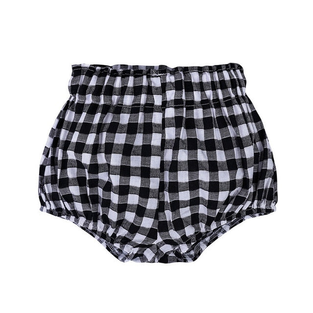 child high waist relaxed cotton short black check