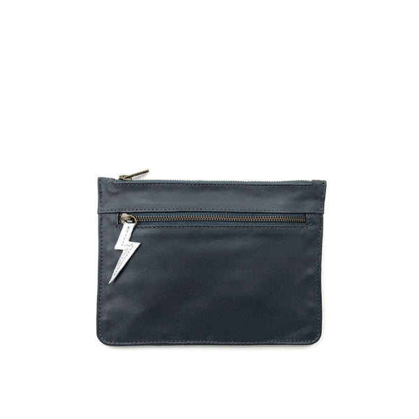 Austin Basics Ashes Leather Clutch - Silver & Black