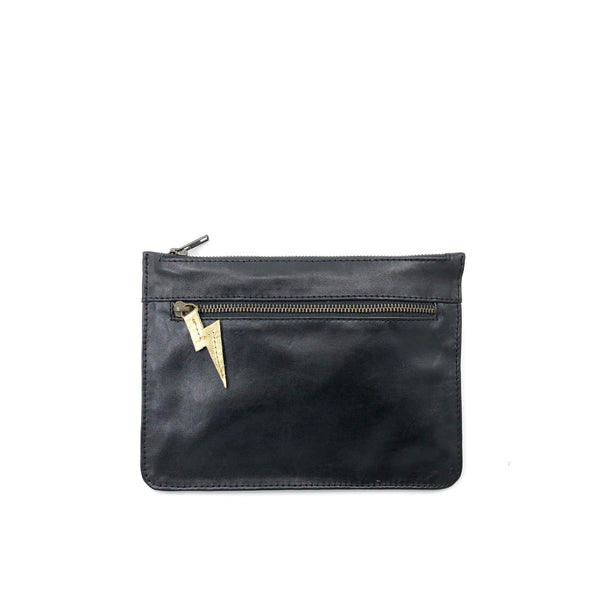 Austin Basics Rebel Leather Clutch - Gold & Black
