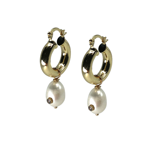 Saqui Studio Pearl Drop Hoop Earrings