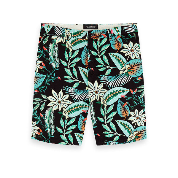 Scotch & Soda Black Botanic Print Chino Shorts