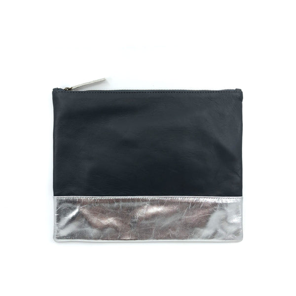 Austin Basics Large Silver Leather Clutch