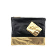 Austin Basics Large Gold Leather Clutch