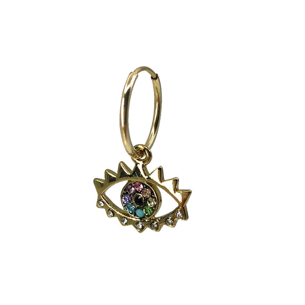 Gold Sister Crystal Eye Charm Single Earring