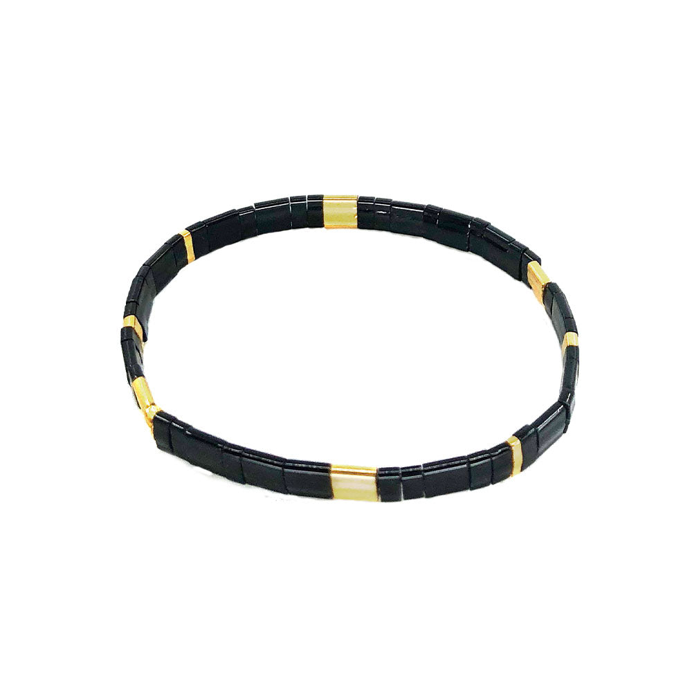 Saqui Japanese Glass Bead Bracelet - Black & Gold