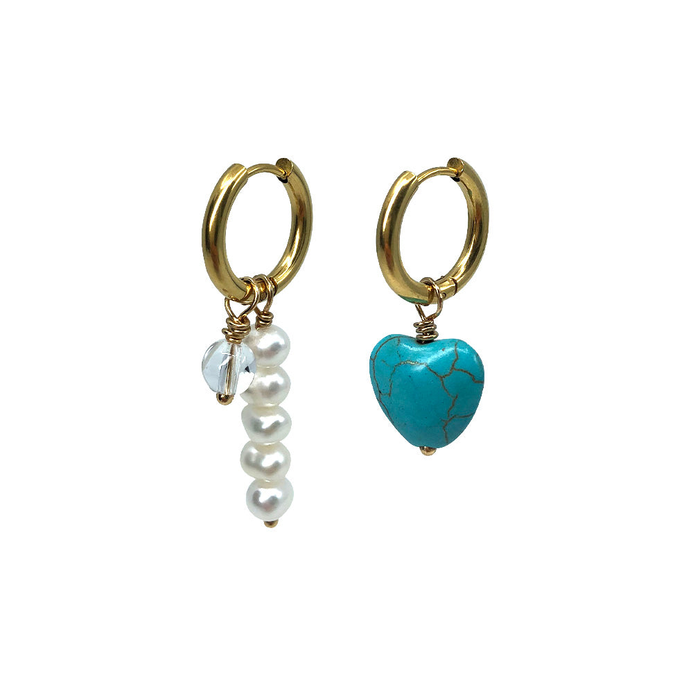 Saqui Studio Turquoise Heart & Pearls Asymmetric Drop Earrings