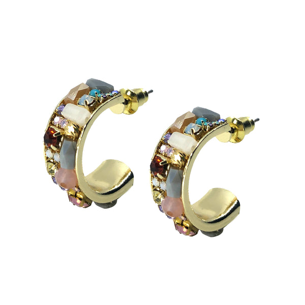 Saqui Studio Pastel Gemstone Hoop Earrings