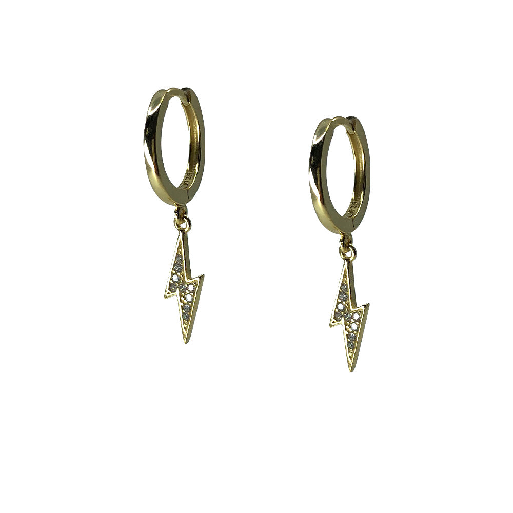 Saqui Studio Lightning Bolt Charm Sleeper Earrings